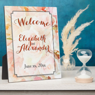 Watercolor Wedding Peach Roses Welcome Photo Plaque