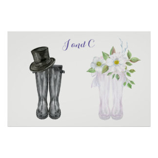 Watercolor wedding Rain Boots for bride and groom Poster