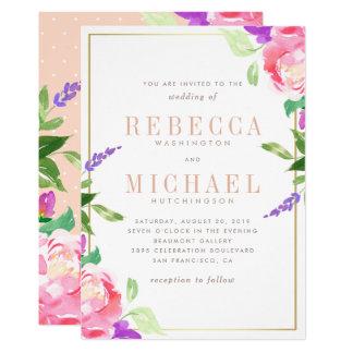Watercolor Wedding | Spring Lavender, Rose & Gold Card