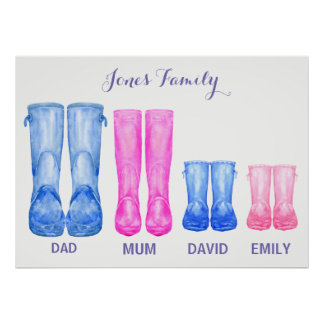 Watercolor wellies My family rubber boots Poster
