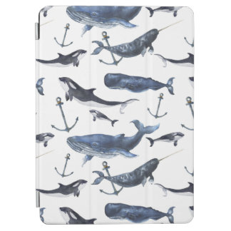 Watercolor Whale & Anchor Pattern