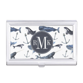 Watercolor Whale & Anchor Pattern Business Card Holder