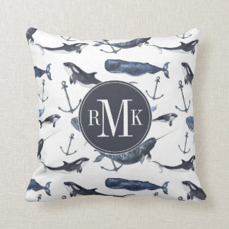 Watercolor Whale & Anchor Pattern Cushion