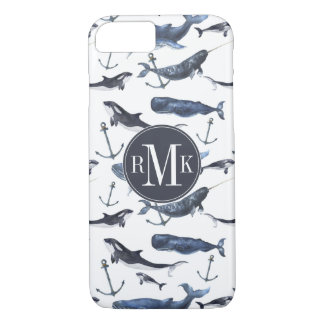 Watercolor Whale & Anchor Pattern iPhone 8/7 Case