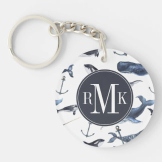 Watercolor Whale & Anchor Pattern Key Ring