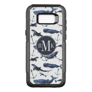 Watercolor Whale & Anchor Pattern OtterBox Commuter Samsung Galaxy S8+ Case