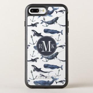 Watercolor Whale & Anchor Pattern OtterBox Symmetry iPhone 8 Plus/7 Plus Case