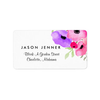 Watercolor Whimsical Floral Wedding Label
