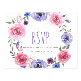 Watercolor Whimsical Wreath Flowers Wedding RSVP Postcard