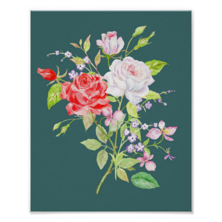 Watercolor White and Red Rose Bouquet Poster