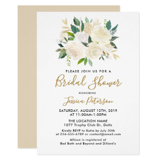 Watercolor White Flowers BridalShower Invitations