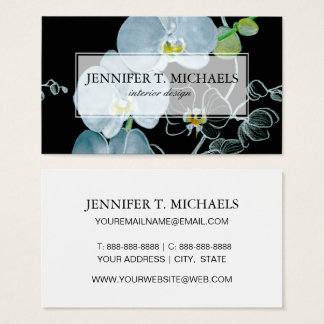 Watercolor White Orchids Pattern Business Card