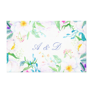 Watercolor White Peony Frame Canvas Print