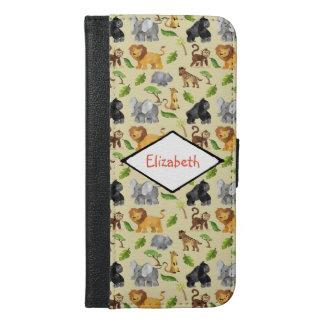 Watercolor Wild Animal Safari Jungle Pattern iPhone 6/6s Plus Wallet Case
