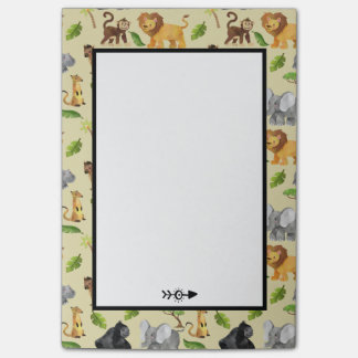 Watercolor Wild Animal Safari Jungle Pattern Post-it Notes