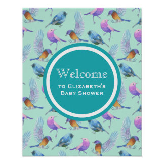 Watercolor Wild Exotic Birds Pattern Event Welcome Poster