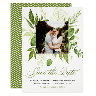 Watercolor Wild Green Foliage Photo Save the Date Card