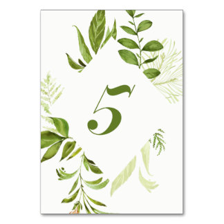 Watercolor Wild Green Foliage Table Number 5 Card