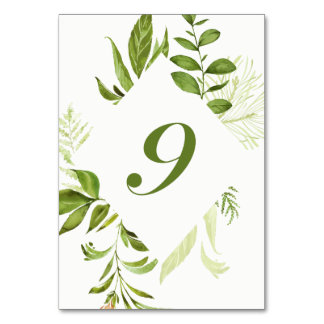 Watercolor Wild Green Foliage Table Number 9 Card