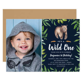 Watercolor Wild One | Photo Birthday Party | Navy Card