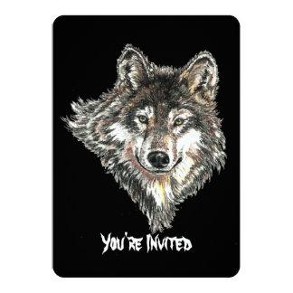 Watercolor Wild Wolf Head Design 13 Cm X 18 Cm Invitation Card