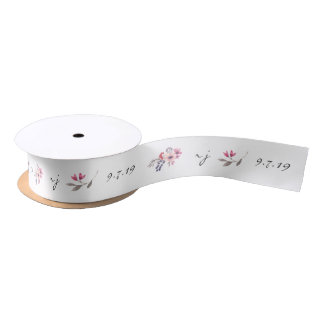 Watercolor Wildflower Customised Wedding Ribbon Satin Ribbon