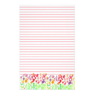 Watercolor Wildflowers Red Lined Stationery Paper