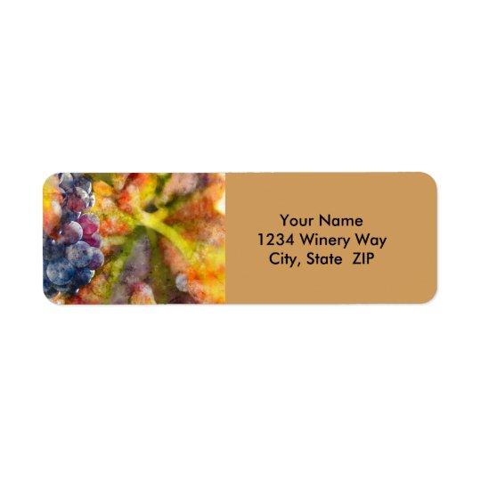 Watercolor Wine Grapes on Vine Return Address Label