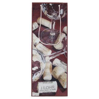 Watercolor Wine Time Glass Cork Print Gift Bag