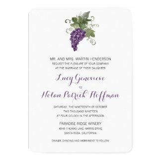Watercolor Wine Vineyard   Wedding Card