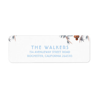Watercolor Winter Berries and Pines Return Address Label