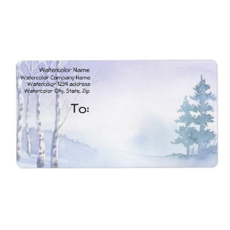 Watercolor Winter Birch Pine Trees Address Shipping Label