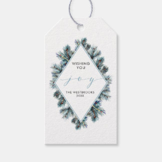 Watercolor Winter Fir Branches Holiday Gift Tags