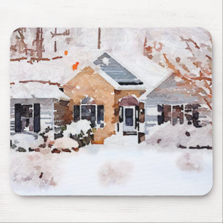 Watercolor Winter Home Mouse Pad