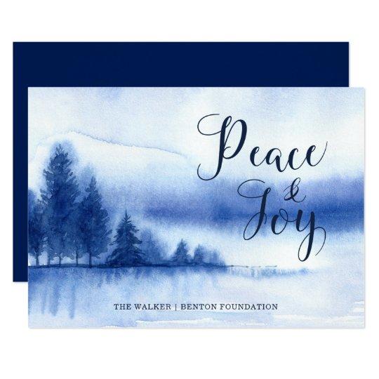 Watercolor Winter Lake Holiday Flat Card