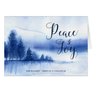 Watercolor Winter Lake Holiday Greeting Card