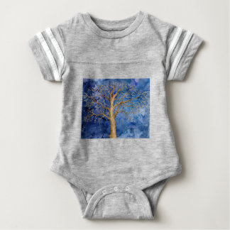 Watercolor Winter Oak Tree Baby Bodysuit