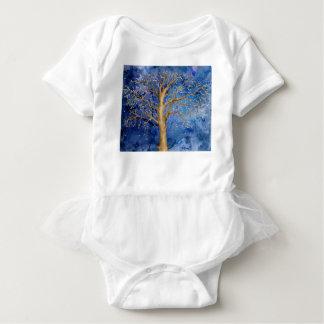 Watercolor Winter Oak Tree Baby Bodysuit
