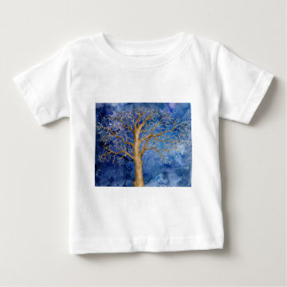 Watercolor Winter Oak Tree Baby T-Shirt