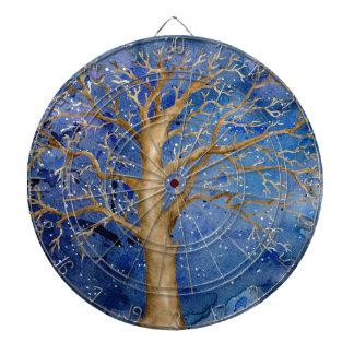 Watercolor Winter Oak Tree Dartboard