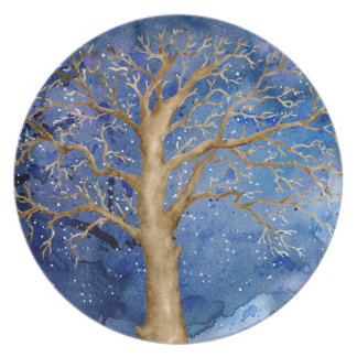 Watercolor Winter Oak Tree Plate