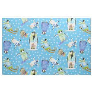 Watercolor Winter Penguins w Snowflakes Snowboard Fabric