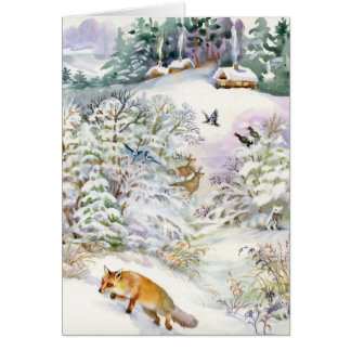 Watercolor Winter Scene Greeting Card