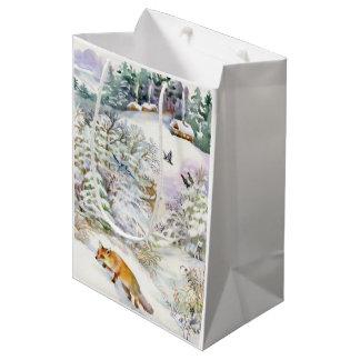 Watercolor Winter Scene Medium Gift Bag
