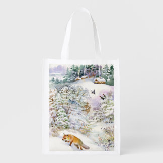 Watercolor Winter Scene Reusable Grocery Bag