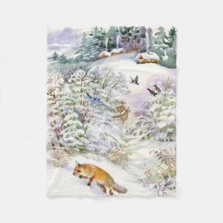 Watercolor Winter Scene Small Fleece Blanket