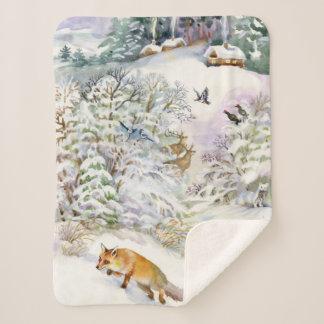 Watercolor Winter Small Sherpa Fleece Blanket