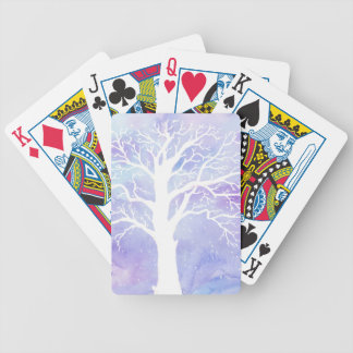 Watercolor winter tree in snow bicycle playing cards