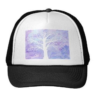 Watercolor winter tree in snow cap