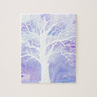 Watercolor winter tree in snow jigsaw puzzle